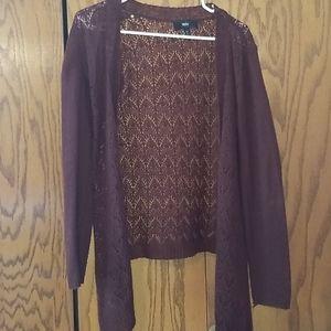 High-low maroon medium cardigan